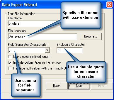 Specify export parameters