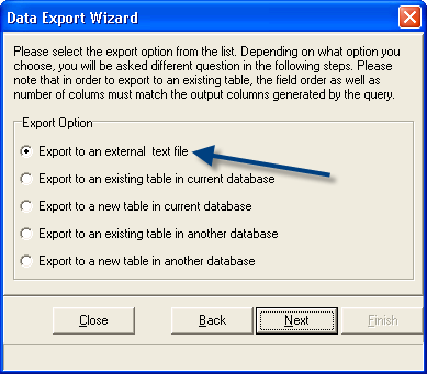 Export to external text file