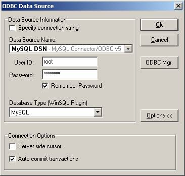 Connecting to MySQL using ODBC