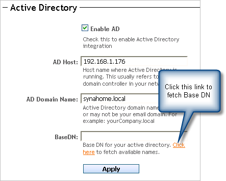 Active Directory integration with SynaMan