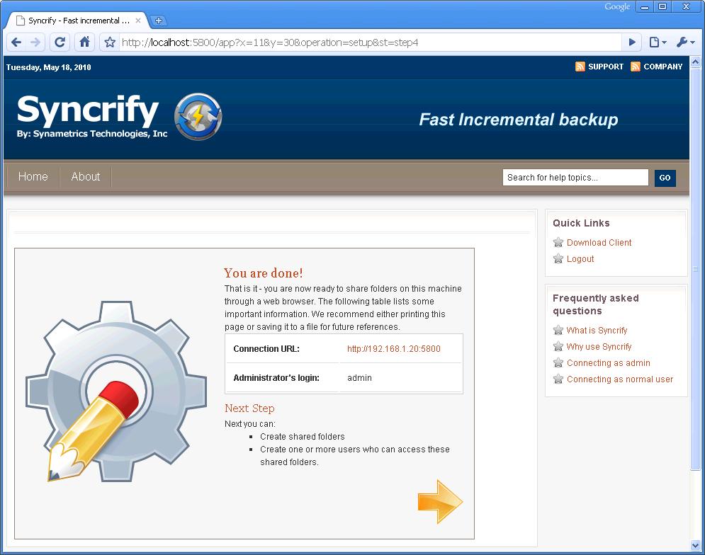 Installing Syncrify on Microsoft Windows platform